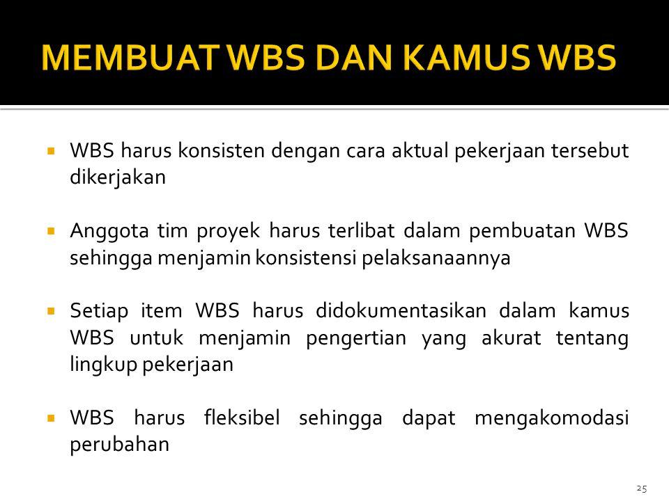  WBS harus konsisten dengan cara aktual pekerjaan tersebut dikerjakan  Anggota tim proyek harus terlibat dalam pembuatan WBS sehingga menjamin konsi