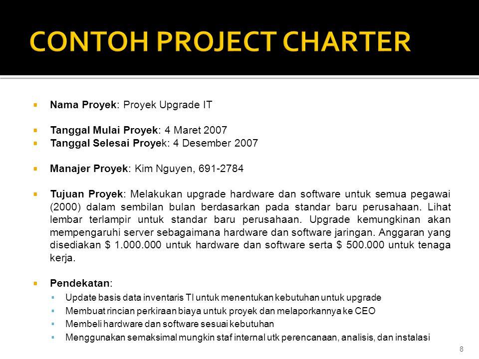  Nama Proyek: Proyek Upgrade IT  Tanggal Mulai Proyek: 4 Maret 2007  Tanggal Selesai Proyek: 4 Desember 2007  Manajer Proyek: Kim Nguyen, 691-2784