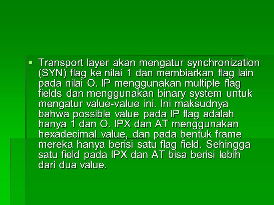  Transport layer akan mengatur synchronization (SYN) flag ke nilai 1 dan membiarkan flag lain pada nilai O. IP menggunakan multiple flag fields dan m