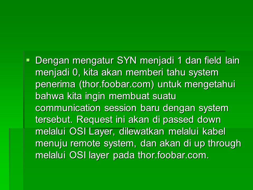  Dengan mengatur SYN menjadi 1 dan field lain menjadi 0, kita akan memberi tahu system penerima (thor.foobar.com) untuk mengetahui bahwa kita ingin m