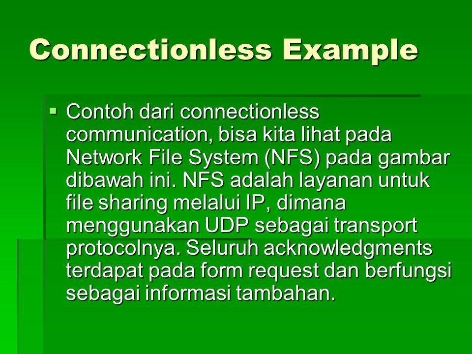 Connectionless Example  Contoh dari connectionless communication, bisa kita lihat pada Network File System (NFS) pada gambar dibawah ini. NFS adalah