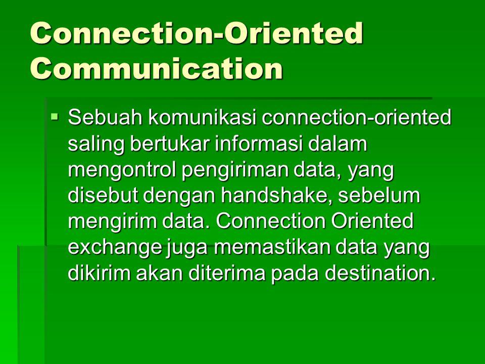 Connection-Oriented Communication  Sebuah komunikasi connection-oriented saling bertukar informasi dalam mengontrol pengiriman data, yang disebut den
