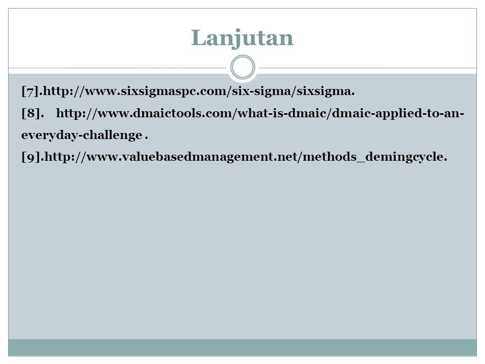 Lanjutan [7].http://www.sixsigmaspc.com/six-sigma/sixsigma. [8]. http://www.dmaictools.com/what-is-dmaic/dmaic-applied-to-an- everyday-challenge. [9].