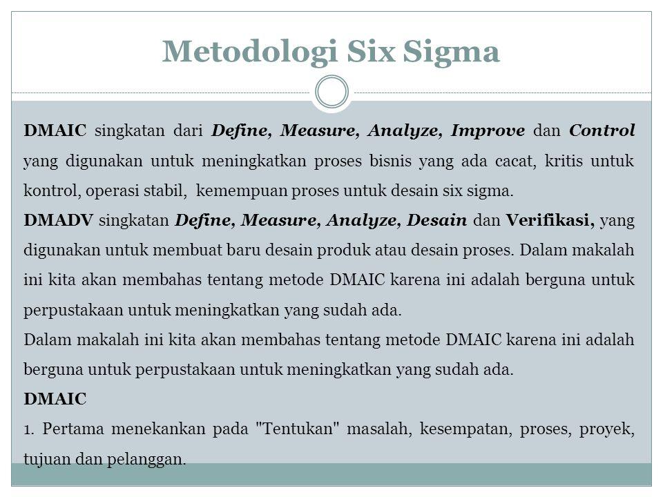 Metodologi Six Sigma DMAIC singkatan dari Define, Measure, Analyze, Improve dan Control yang digunakan untuk meningkatkan proses bisnis yang ada cacat
