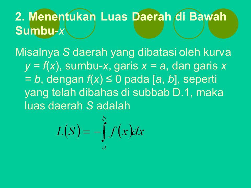 2. Menentukan Luas Daerah di Bawah Sumbu-x Misalnya S daerah yang dibatasi oleh kurva y = f(x), sumbu-x, garis x = a, dan garis x = b, dengan f(x) ≤ 0