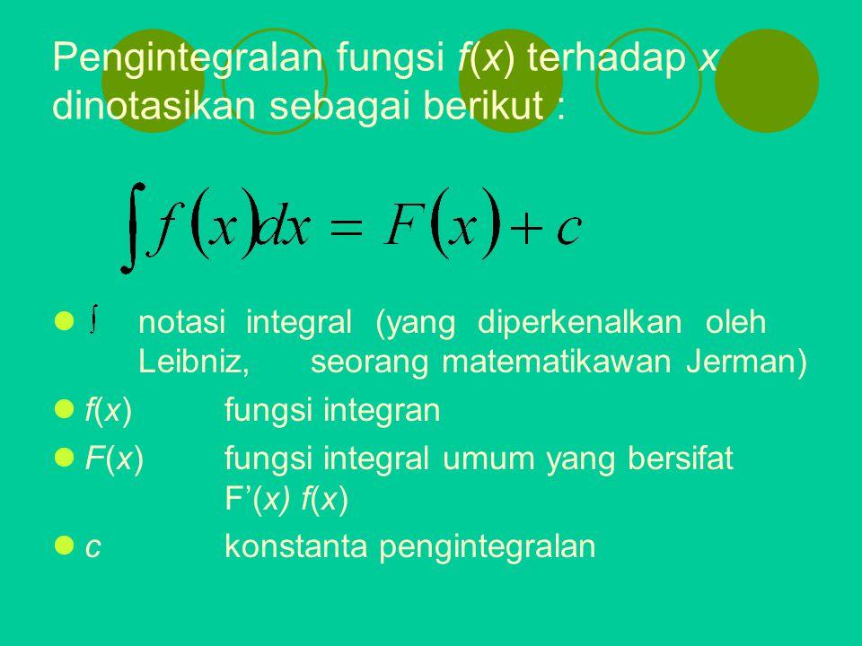 Pengintegralan fungsi f(x) terhadap x dinotasikan sebagai berikut : notasi integral (yang diperkenalkan oleh Leibniz, seorang matematikawan Jerman) f(