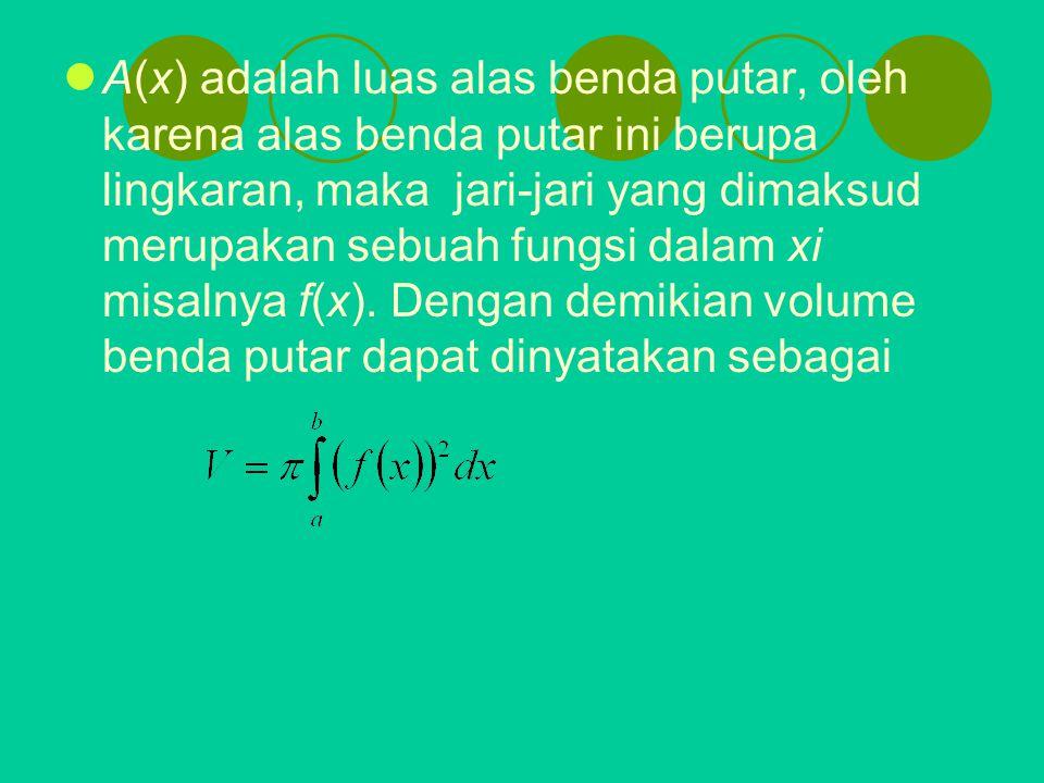 A(x) adalah luas alas benda putar, oleh karena alas benda putar ini berupa lingkaran, maka jari-jari yang dimaksud merupakan sebuah fungsi dalam xi mi