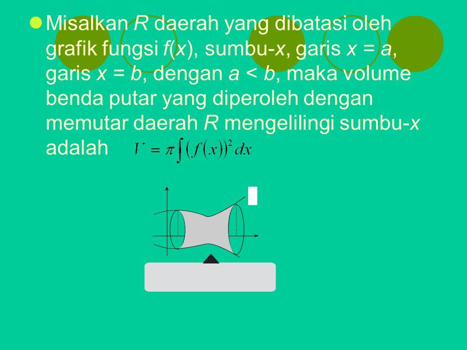 Misalkan R daerah yang dibatasi oleh grafik fungsi f(x), sumbu-x, garis x = a, garis x = b, dengan a < b, maka volume benda putar yang diperoleh denga