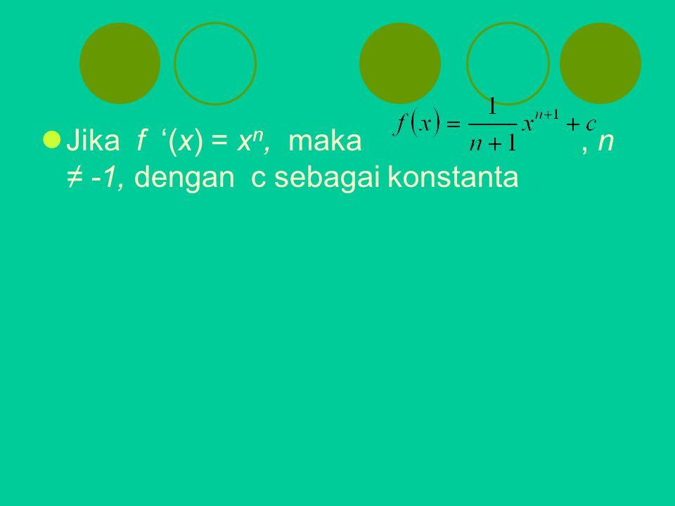 Jika f '(x) = x n, maka, n ≠ -1, dengan c sebagai konstanta