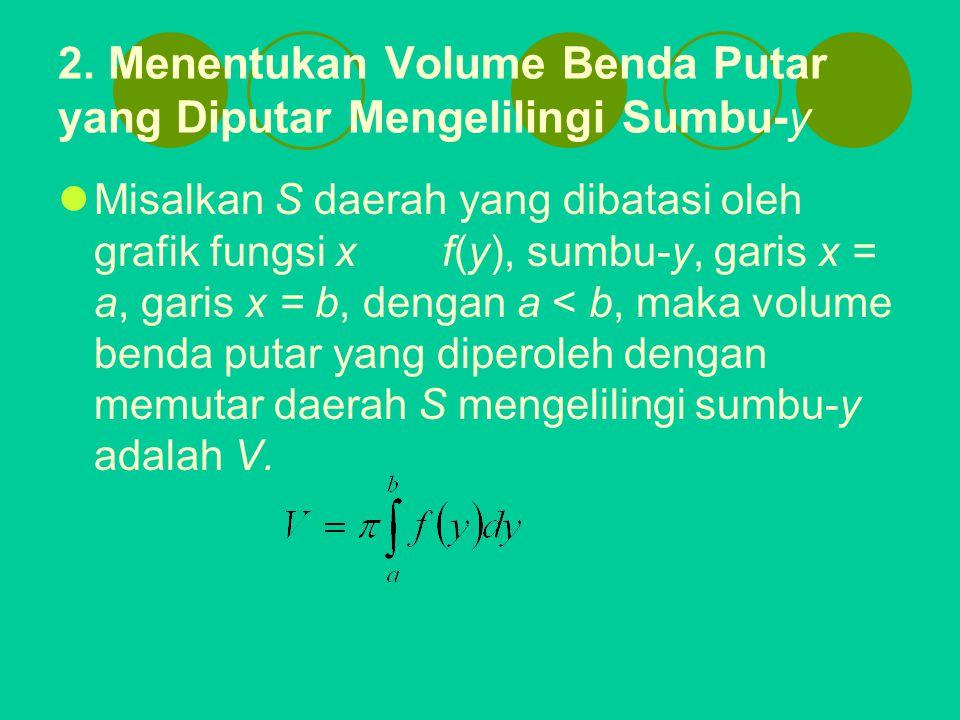 2. Menentukan Volume Benda Putar yang Diputar Mengelilingi Sumbu-y Misalkan S daerah yang dibatasi oleh grafik fungsi xf(y), sumbu-y, garis x = a, gar