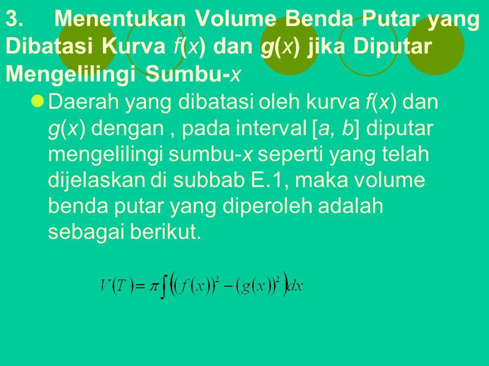 3.Menentukan Volume Benda Putar yang Dibatasi Kurva f(x) dan g(x) jika Diputar Mengelilingi Sumbu-x Daerah yang dibatasi oleh kurva f(x) dan g(x) deng