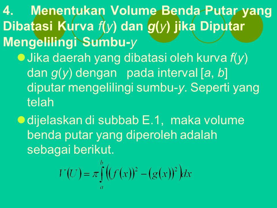 4.Menentukan Volume Benda Putar yang Dibatasi Kurva f(y) dan g(y) jika Diputar Mengelilingi Sumbu-y Jika daerah yang dibatasi oleh kurva f(y) dan g(y)