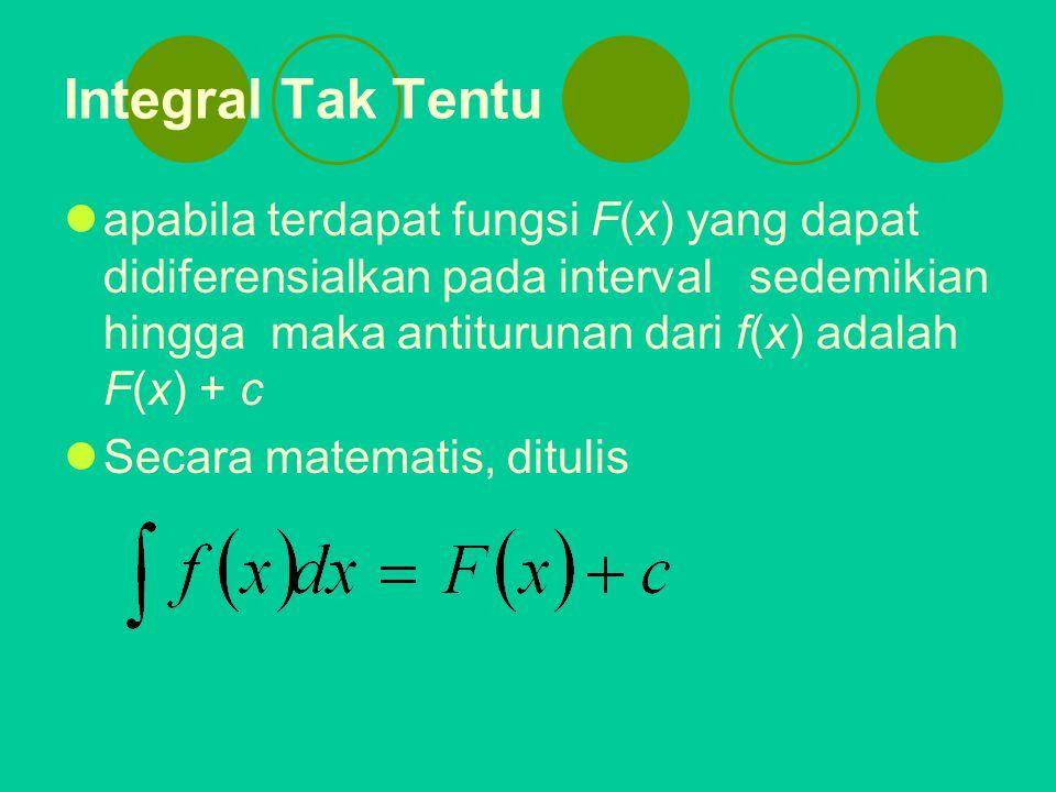 Integral Tak Tentu apabila terdapat fungsi F(x) yang dapat didiferensialkan pada interval sedemikian hingga maka antiturunan dari f(x) adalah F(x) + c