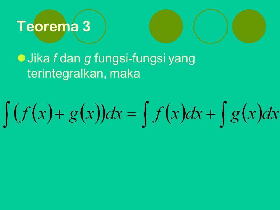 Teorema 1 Kelinearan Jika f dan g terintegralkan pada interval [a, b] dan k suatu konstanta, maka