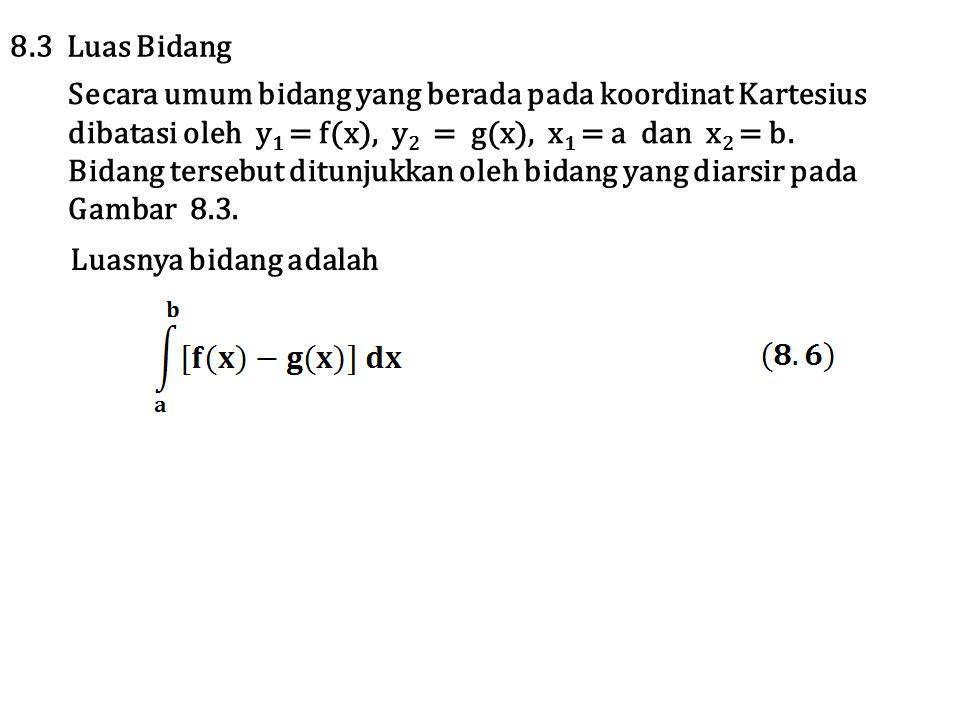 Secara umum bidang yang berada pada koordinat Kartesius dibatasi oleh y 1 = f(x), y 2 = g(x), x 1 = a dan x 2 = b. Bidang tersebut ditunjukkan oleh bi