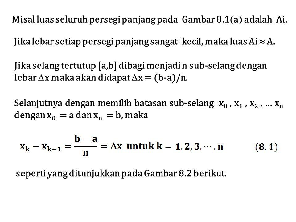 Selanjutnya dengan memilih batasan sub-selang x 0, x 1, x 2, … x n dengan x 0 = a dan x n = b, maka Jika selang tertutup [a,b] dibagi menjadi n sub-se