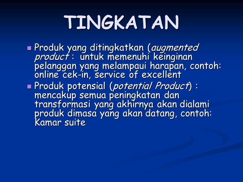 TINGKATAN Produk yang ditingkatkan (augmented product : untuk memenuhi keinginan pelanggan yang melampaui harapan, contoh: online cek-in, service of e