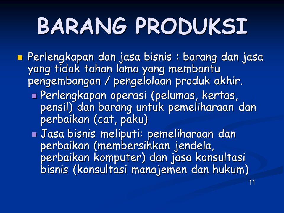 BARANG PRODUKSI Perlengkapan dan jasa bisnis : barang dan jasa yang tidak tahan lama yang membantu pengembangan / pengelolaan produk akhir. Perlengkap