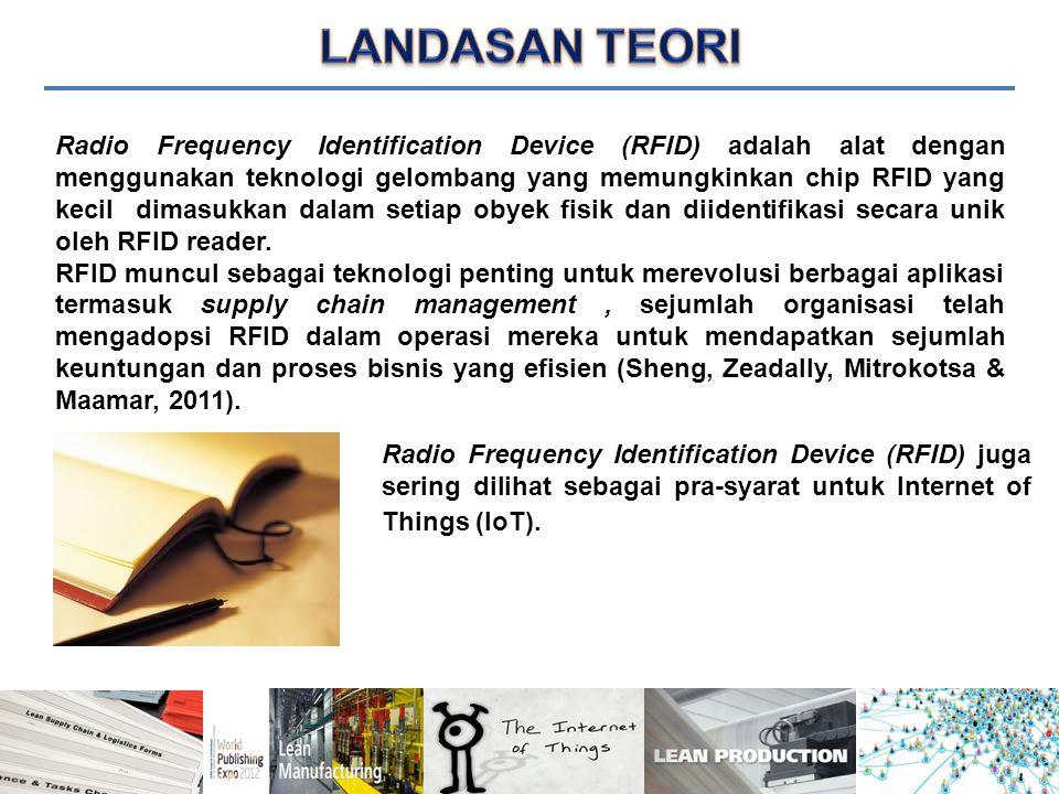 Radio Frequency Identification Device (RFID) adalah alat dengan menggunakan teknologi gelombang yang memungkinkan chip RFID yang kecil dimasukkan dalam setiap obyek fisik dan diidentifikasi secara unik oleh RFID reader.