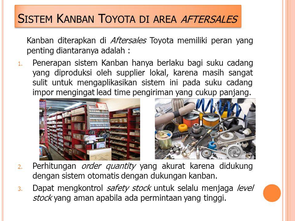 S ISTEM K ANBAN T OYOTA DI AREA AFTERSALES Kanban diterapkan di Aftersales Toyota memiliki peran yang penting diantaranya adalah : 1. Penerapan sistem