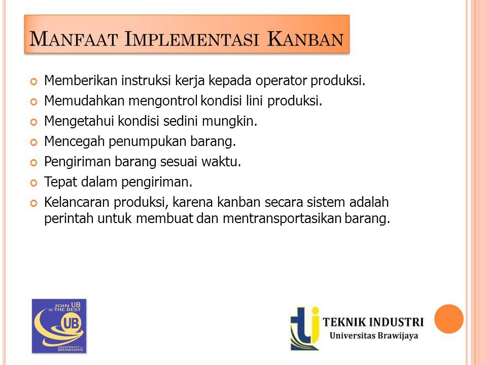 M ANFAAT I MPLEMENTASI K ANBAN Memberikan instruksi kerja kepada operator produksi. Memudahkan mengontrol kondisi lini produksi. Mengetahui kondisi se