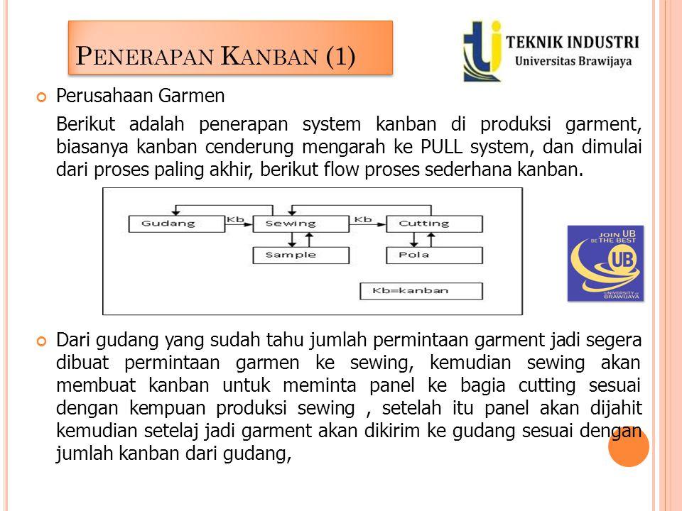 P ENERAPAN K ANBAN (1) Perusahaan Garmen Berikut adalah penerapan system kanban di produksi garment, biasanya kanban cenderung mengarah ke PULL system