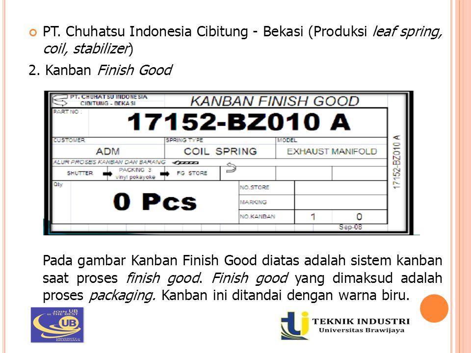 PT. Chuhatsu Indonesia Cibitung - Bekasi (Produksi leaf spring, coil, stabilizer) 2. Kanban Finish Good Pada gambar Kanban Finish Good diatas adalah s