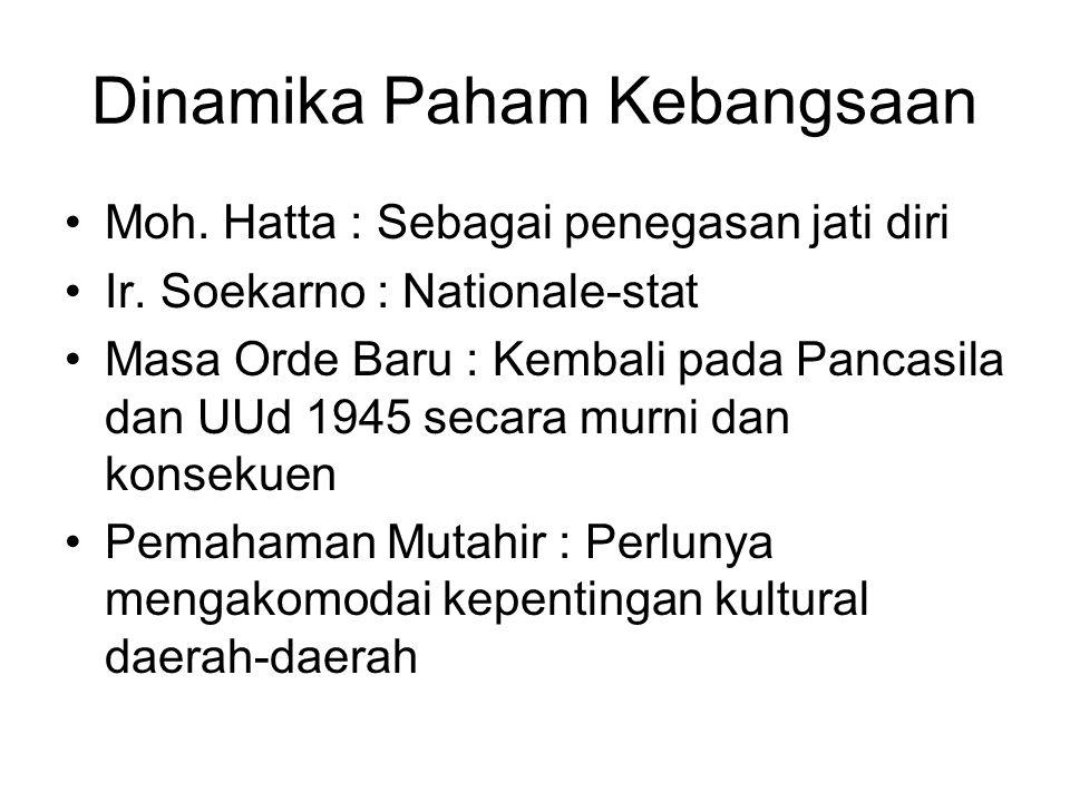 Dinamika Paham Kebangsaan Moh. Hatta : Sebagai penegasan jati diri Ir. Soekarno : Nationale-stat Masa Orde Baru : Kembali pada Pancasila dan UUd 1945