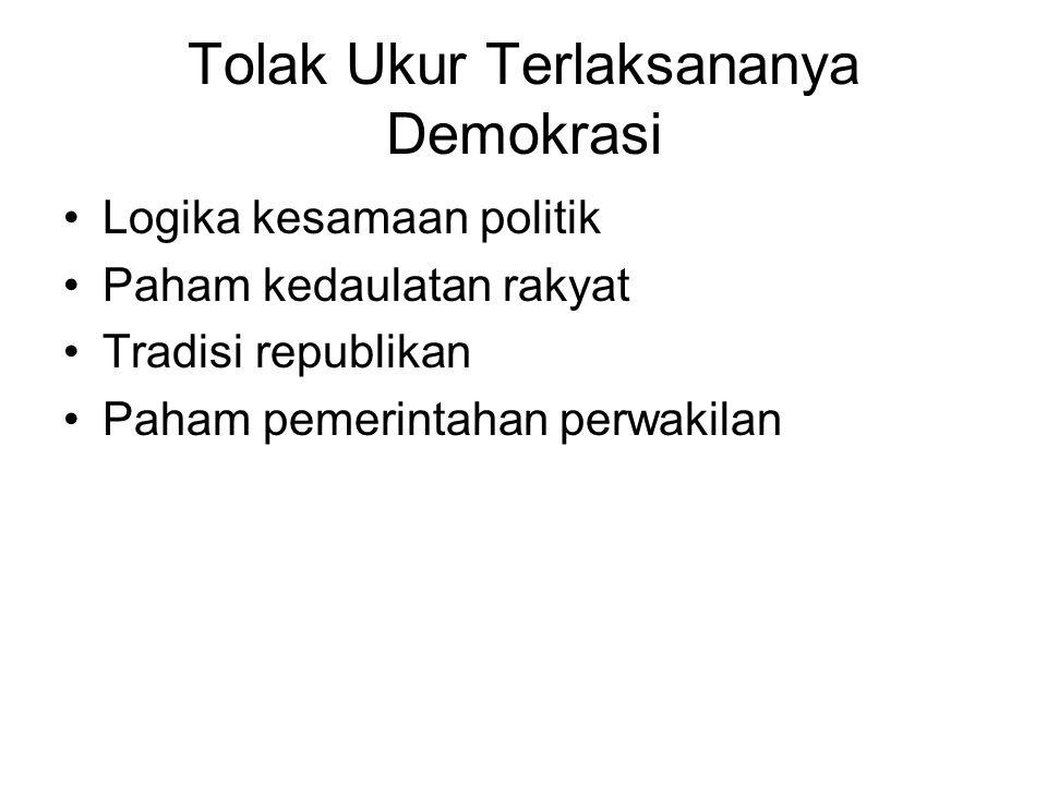 Tolak Ukur Terlaksananya Demokrasi Logika kesamaan politik Paham kedaulatan rakyat Tradisi republikan Paham pemerintahan perwakilan