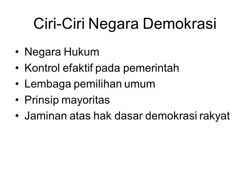 Ciri-Ciri Negara Demokrasi Negara Hukum Kontrol efaktif pada pemerintah Lembaga pemilihan umum Prinsip mayoritas Jaminan atas hak dasar demokrasi raky