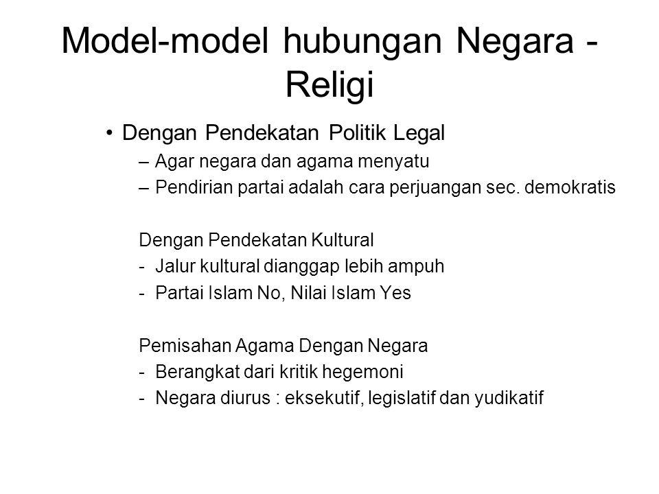 Model-model hubungan Negara - Religi Dengan Pendekatan Politik Legal –Agar negara dan agama menyatu –Pendirian partai adalah cara perjuangan sec. demo