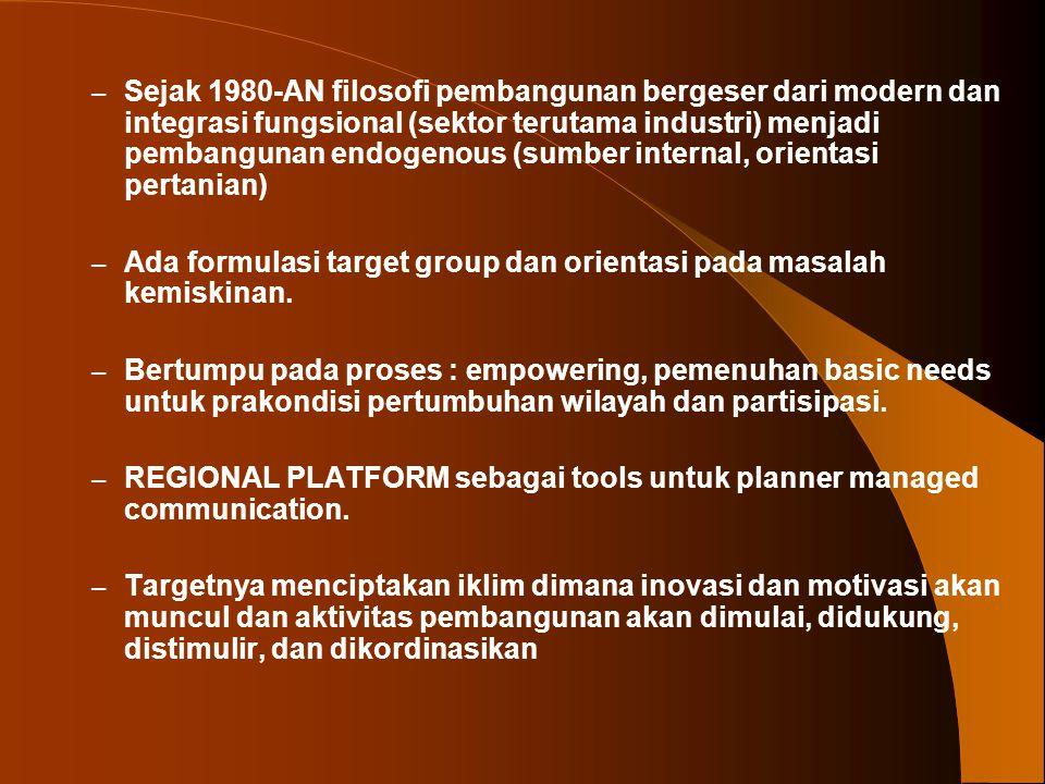 – Sejak 1980-AN filosofi pembangunan bergeser dari modern dan integrasi fungsional (sektor terutama industri) menjadi pembangunan endogenous (sumber i