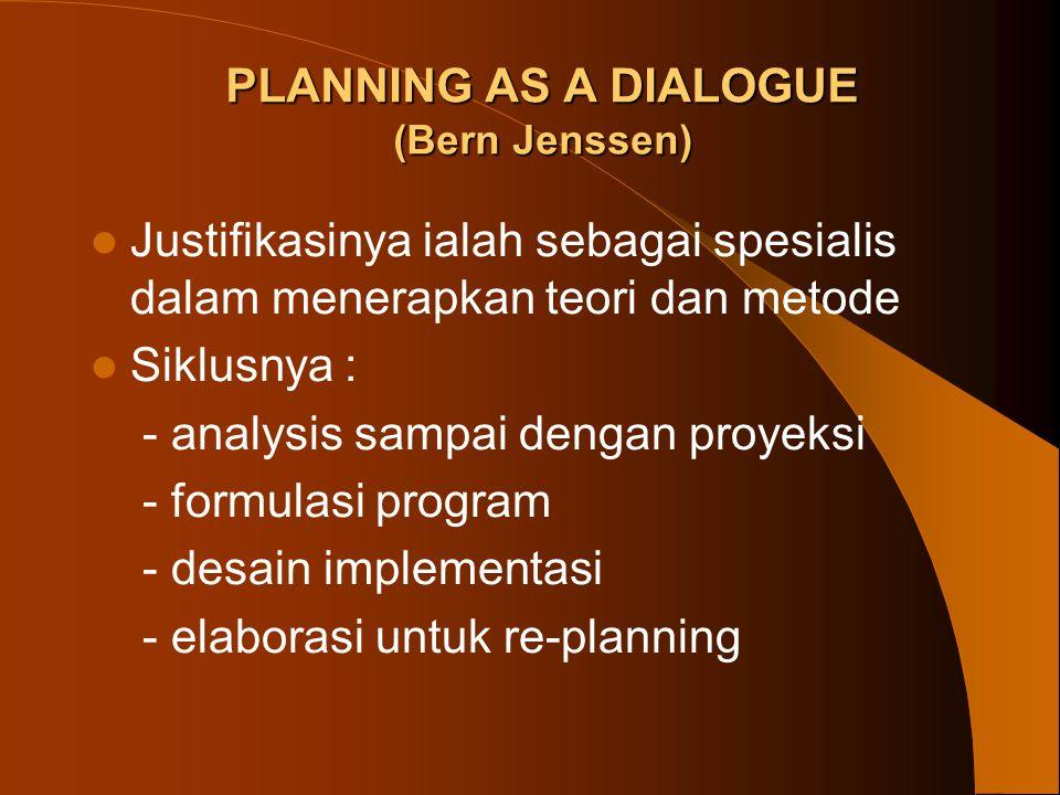 PLANNING AS A DIALOGUE (Bern Jenssen) Justifikasinya ialah sebagai spesialis dalam menerapkan teori dan metode Siklusnya : - analysis sampai dengan pr