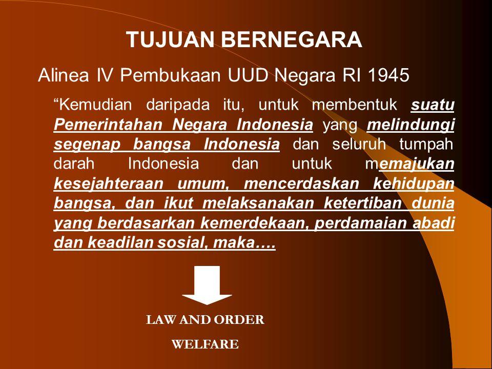 "TUJUAN BERNEGARA Alinea IV Pembukaan UUD Negara RI 1945 ""Kemudian daripada itu, untuk membentuk suatu Pemerintahan Negara Indonesia yang melindungi se"