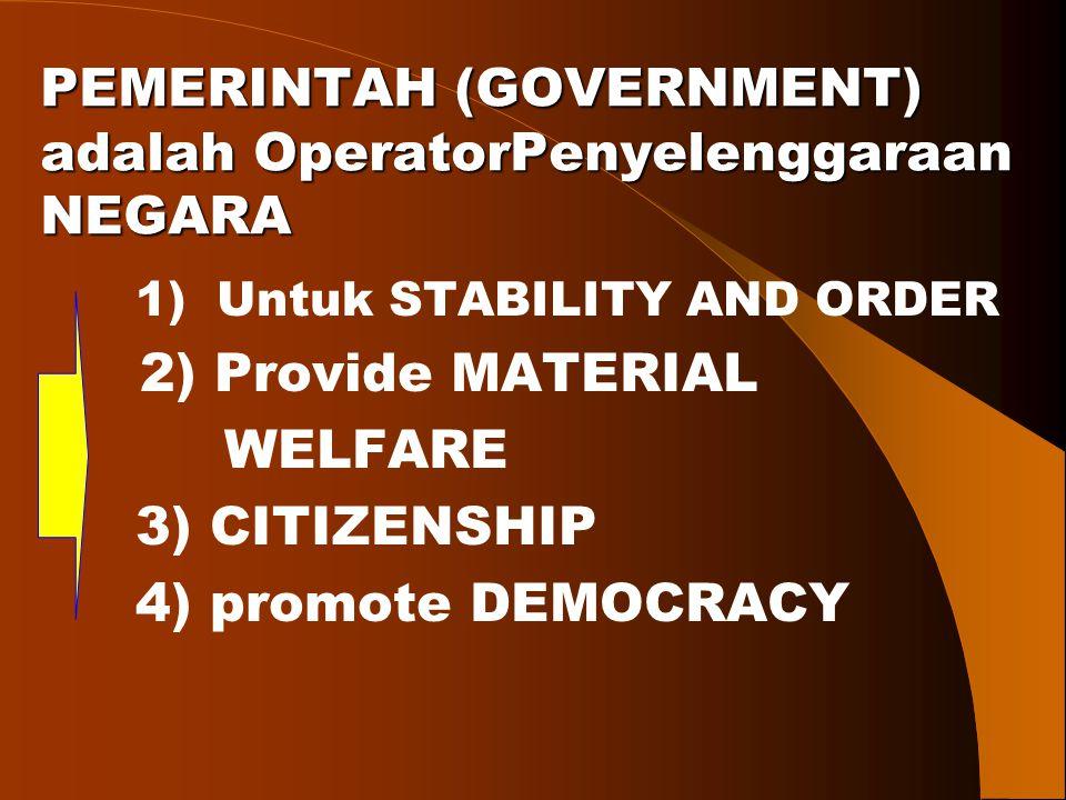 PEMERINTAH (GOVERNMENT) adalah OperatorPenyelenggaraan NEGARA PEMERINTAH (GOVERNMENT) adalah OperatorPenyelenggaraan NEGARA 1) Untuk STABILITY AND ORD
