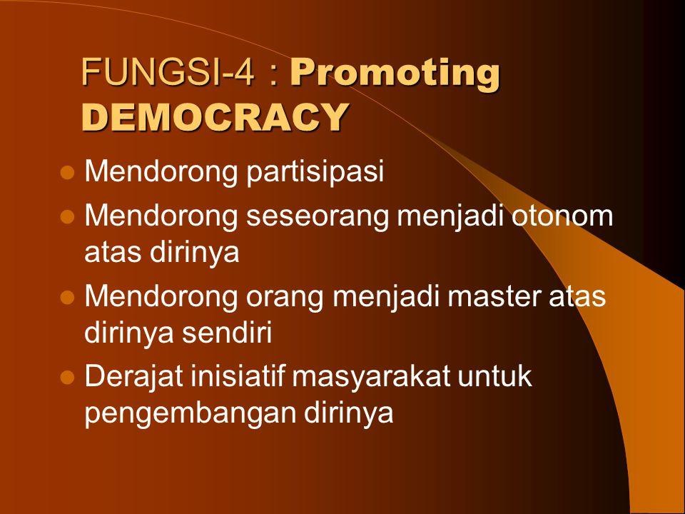 FUNGSI-4 : Promoting DEMOCRACY Mendorong partisipasi Mendorong seseorang menjadi otonom atas dirinya Mendorong orang menjadi master atas dirinya sendi