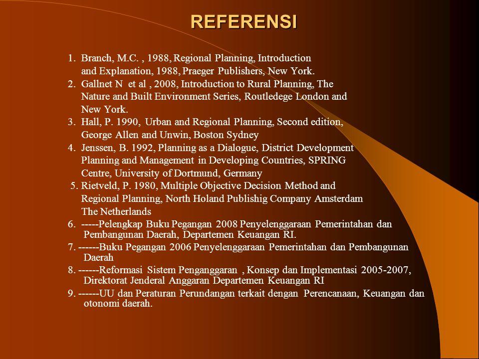 REFERENSI 1. Branch, M.C., 1988, Regional Planning, Introduction and Explanation, 1988, Praeger Publishers, New York. 2. Gallnet N et al, 2008, Introd