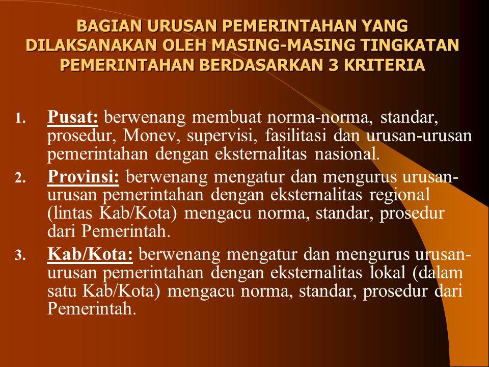 1. Pusat: berwenang membuat norma-norma, standar, prosedur, Monev, supervisi, fasilitasi dan urusan-urusan pemerintahan dengan eksternalitas nasional.