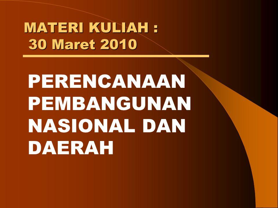 MATERI KULIAH : 30 Maret 2010 PERENCANAAN PEMBANGUNAN NASIONAL DAN DAERAH