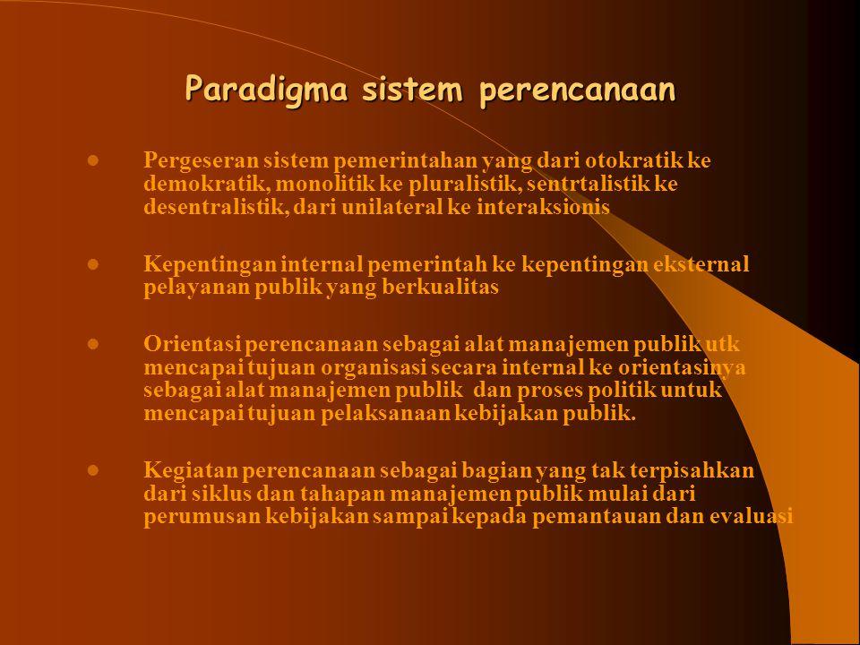 Paradigma sistem perencanaan Pergeseran sistem pemerintahan yang dari otokratik ke demokratik, monolitik ke pluralistik, sentrtalistik ke desentralist