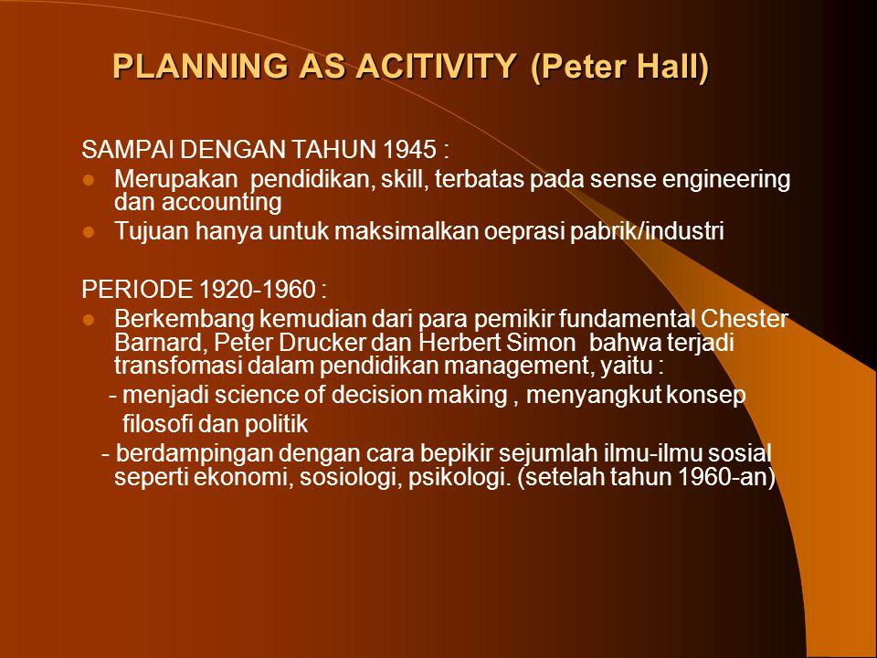 SIKLUS Planning GOALS FORMULATION CONTIONUOUS INFORMATION PROJECTION AND SIMULATION OF ALTERNTIVE FUTURES EVALUATION CHOICES CINTINUOUS MONITROING LEBIH SIMPLE KARENA TUJUAN DIPAHAMI DENGAN JELAS DAN HAMPIR SEMUA PROSES TERKAIT FISIK ATAU PHYSICAL LAW ( British pioneer Patrick Geddes) British Planning Act tiap 5 tahun sekali dalam siklus.