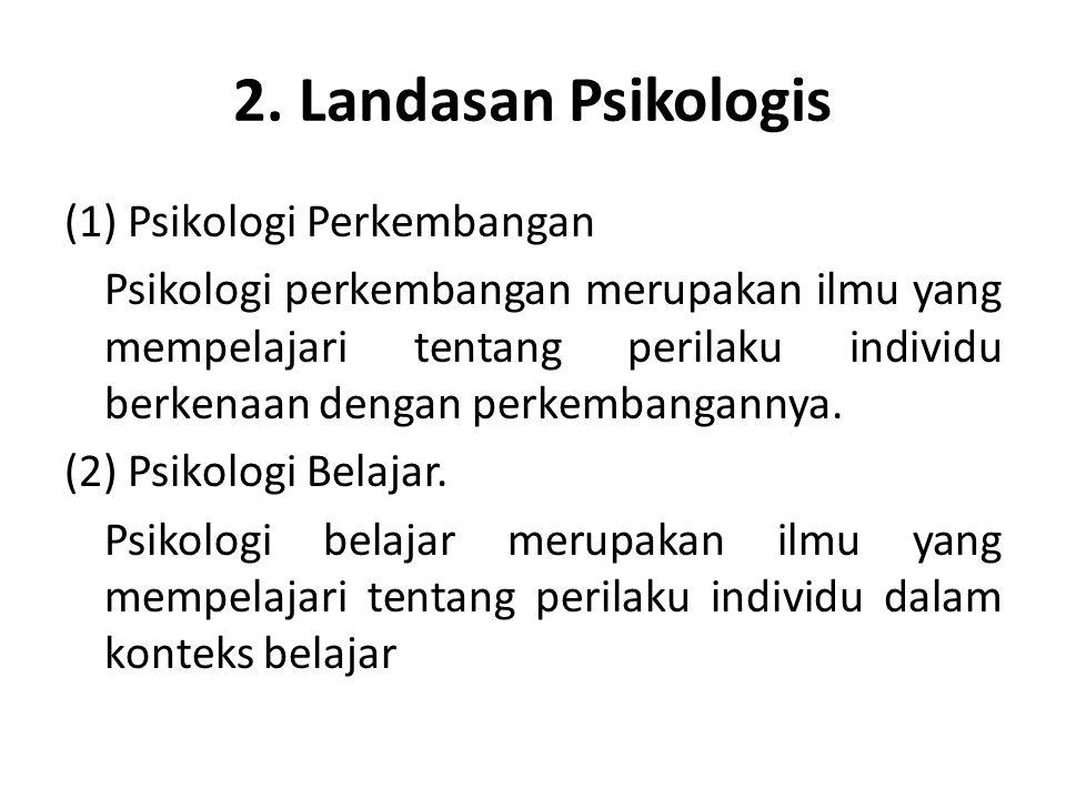 2. Landasan Psikologis (1) Psikologi Perkembangan Psikologi perkembangan merupakan ilmu yang mempelajari tentang perilaku individu berkenaan dengan pe