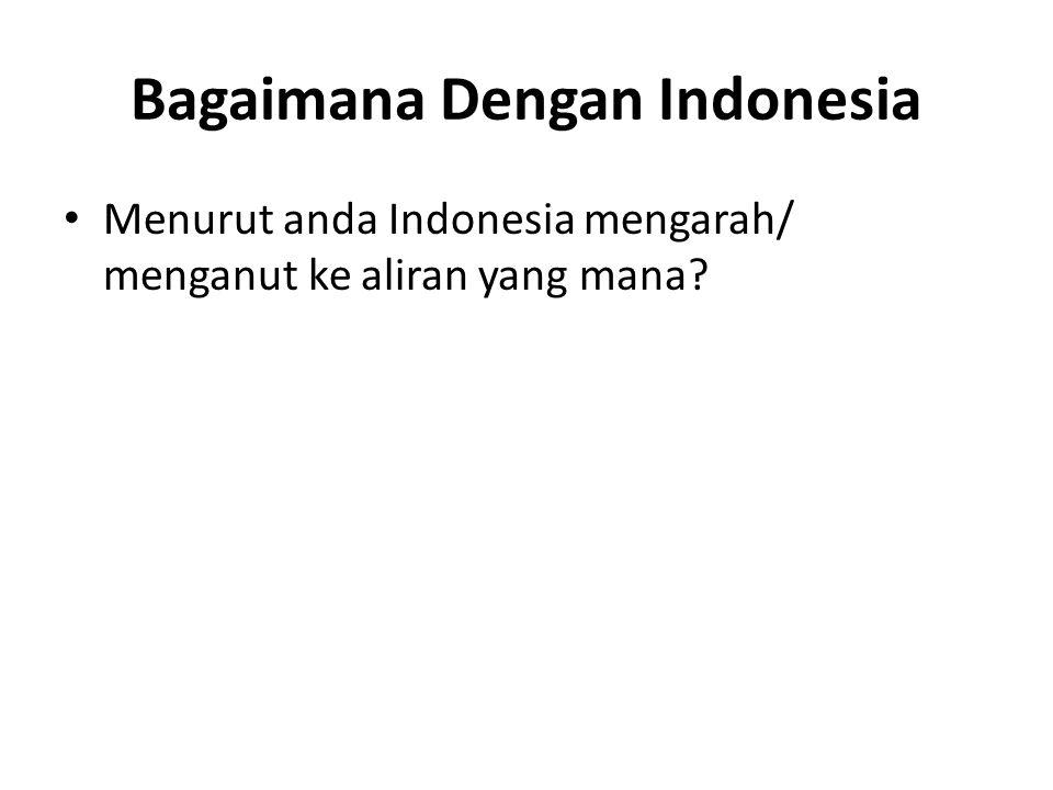 Bagaimana Dengan Indonesia Menurut anda Indonesia mengarah/ menganut ke aliran yang mana?