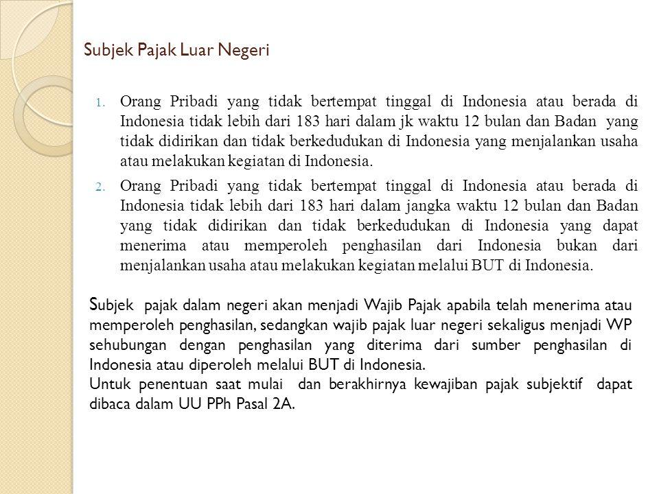  Orang Pribadi yang tidak bertempat tinggal di Indonesia atau berada di Indonesia tidak lebih dari 183 hari dalam jk waktu 12 bulan dan Badan yang t