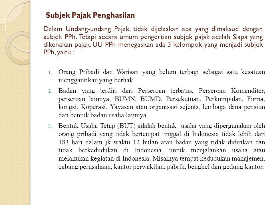  Orang Pribadi yang bertempat tinggal di Indonesia atau Orang Pribadi yang berada di Indonesia lebih dari 183 hari dalam jk waktu 12 bulan atau orang pribadi yang dalam satu tahun pajak berada di Indonesia dan mempunyai niat untuk bertempat tinggal di Indonesia.
