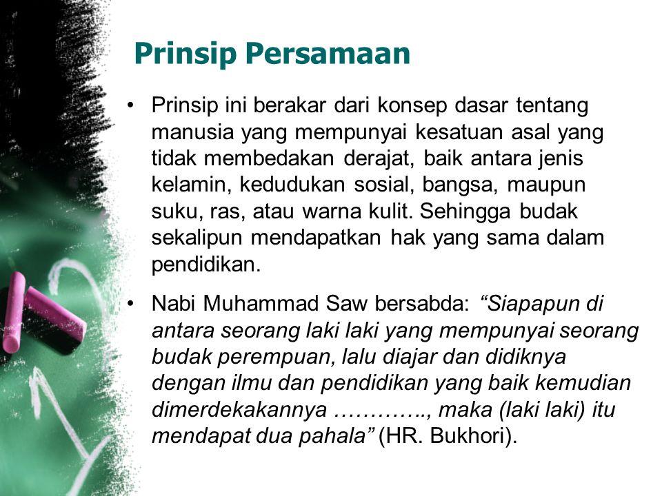 Prinsip Keseimbangan Keseimbangan antara material dan spiritual, unsur jasmani dan rohani. Pada banyak ayat al-Qur'an Allah menyebutkan iman dan amal
