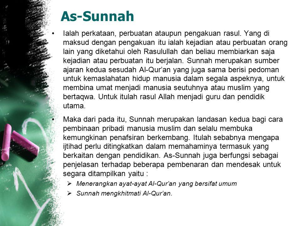 Al-Qur'an Al-Qur'an ialah firman Allah berupa wahyu yang disampaikan oleh Jibril kepada Nabi Muhammad SAW. Di dalamnya terkandung ajaran pokok yang da