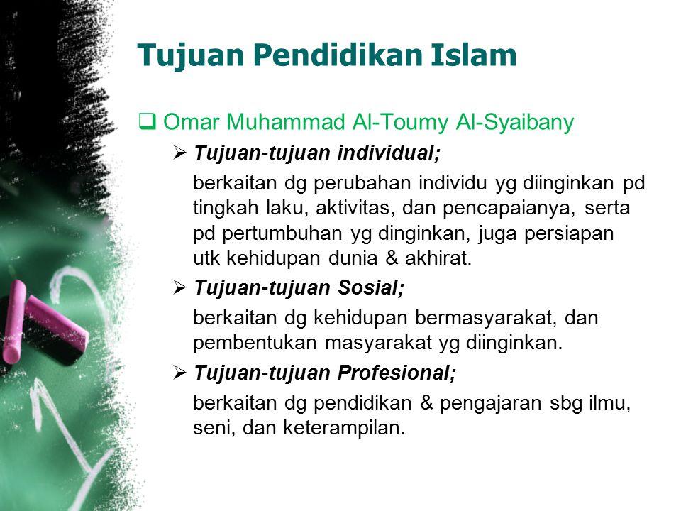  Kongres se-Dunia ke II tantang pendidikan Islam tahun 1980 di Islamabad, merumuskan bahwa: Tujuan pendidikan Islam adalah untuk mencapai keseimbanga