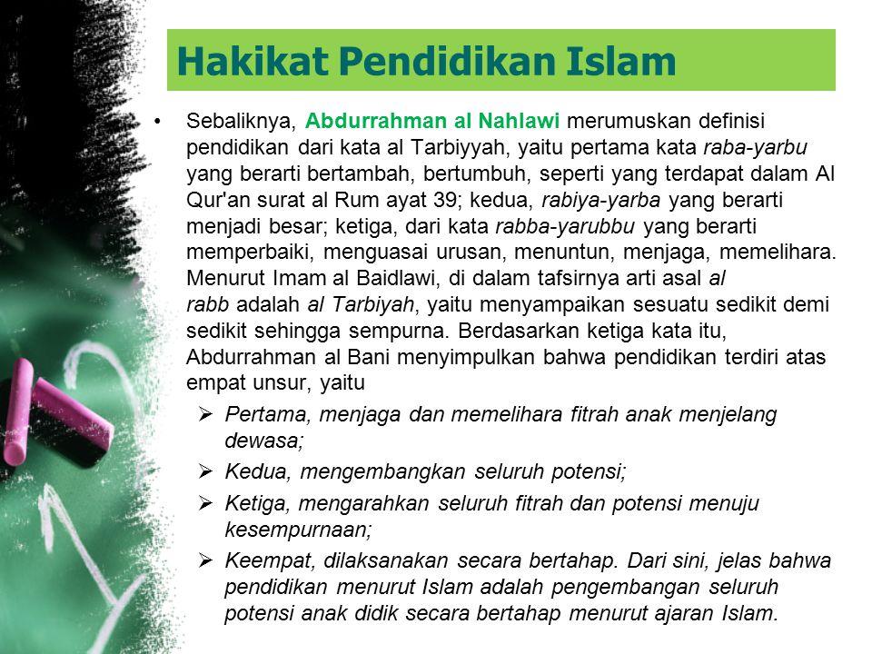 Hakikat Pendidikan Islam Dalam Islam dapat kita jumpai beberapa istilah tentang pendidikan, yaitu, al Ta'lim, al Ta'dib, al Riyadhat, al Tarbiyyah dan