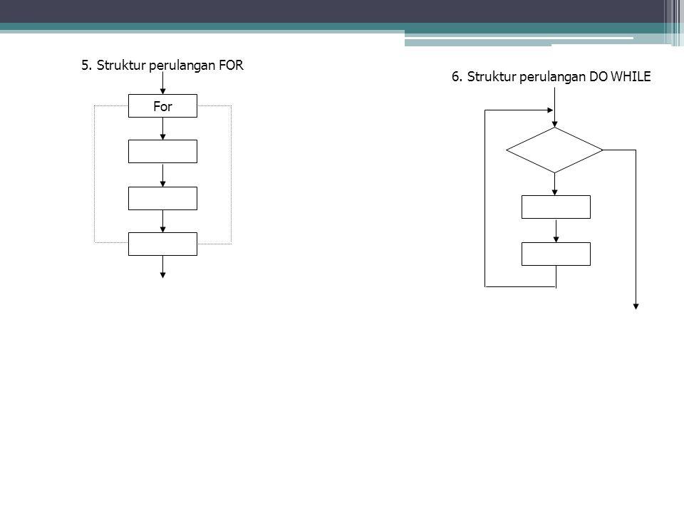 5. Struktur perulangan FOR Lanjutan : For 6. Struktur perulangan DO WHILE